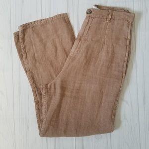 Zara 100% Linen Tan Loose Flowy Pants